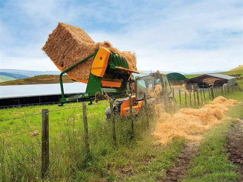 Feeding -square -straw -bales -over -fences